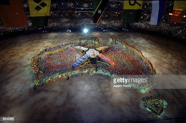 Performers gather to create a map of Australia during the Opening Ceremony of the Sydney 2000 Olympic Games at the Olympic Stadium in Homebush Bay...