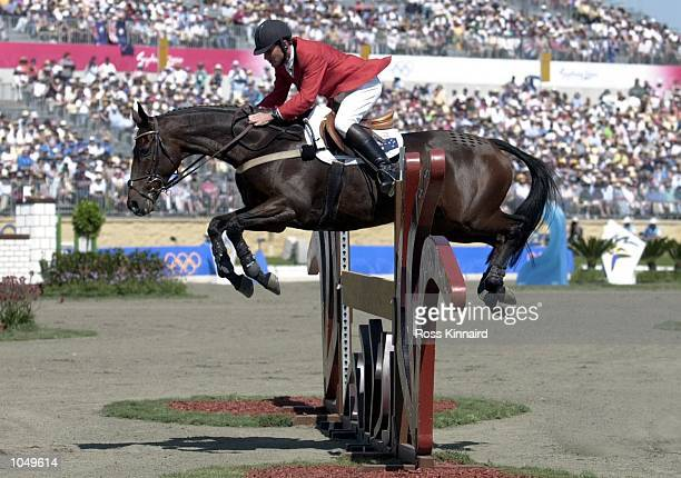 Phillip Dutton of Australia in action on House Doctor during the Jumping Discipline, in the final of the Team Three Day event at the Sydney 2000...