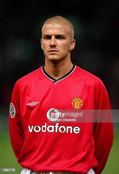 Portrait of David Beckham of Manchester United before the UEFA Champions League match against Anderlecht at Old Trafford in Manchester England...
