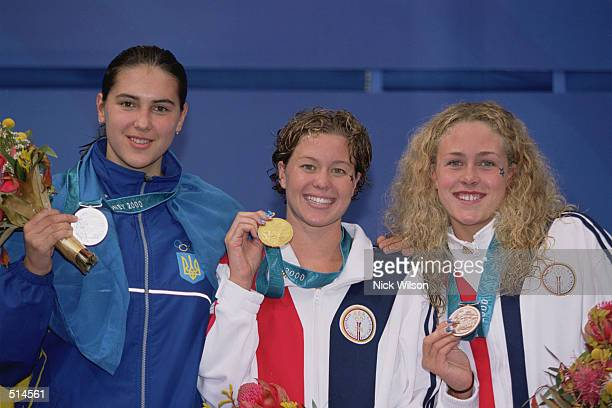 Portrait of medal winners Yana Klochkova of Ukraine Brooke Bennett of the United States and Kaitlin Sadeno of the United States after the Women's 800...