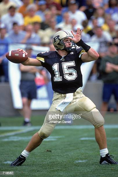 Quarterback Drew Brees of the Purdue Boilermakers passes the ball during the game against the Minnesota Golden Gophers at the Ross-Ade Stadium in...