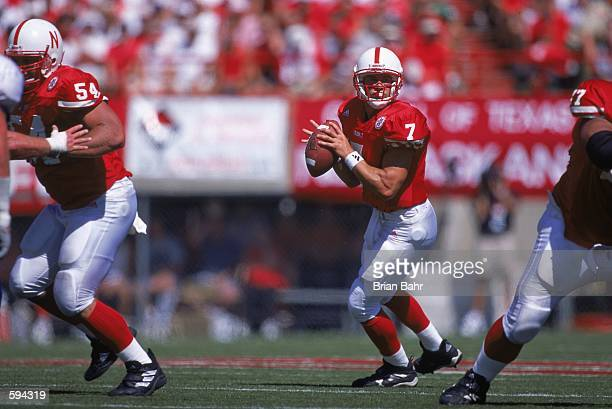 Quarterback Eric Crouch of the Nebraska Cornhuskers looks to pass the ball during the game against the San Jose State Spartans at the Memorial...