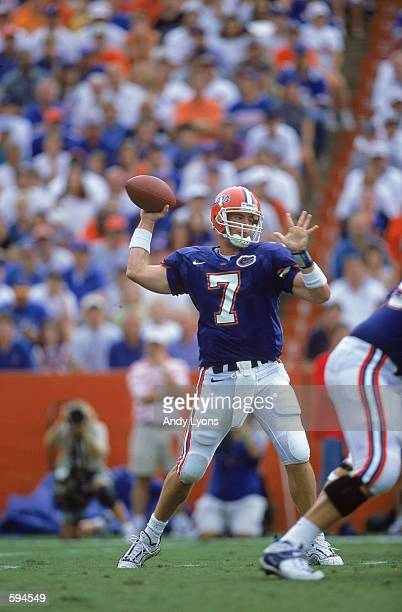 Quarterback Jesse Palmer of the Florida Gators passes the ball during the game against the Ball State Cardinals at Florida Field in Gainsville...