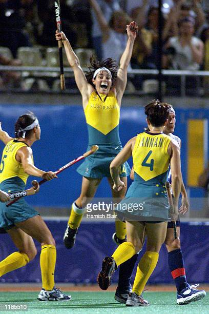 Rechelle Hawkes of Australia celebrates a goal in the final between Australia and Argentina at the Sydney 2000 Olympic Games held at the State Hockey...