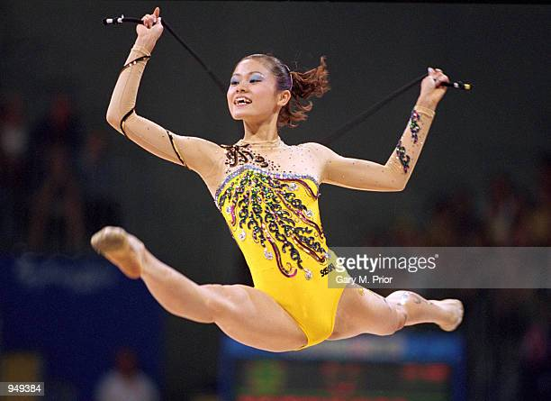 Rieko Matsunaga of Japan in action during the Rhythmic Gymnastics in Pavilion 3 of the Sydney Showground on Day 13 of the Sydney 2000 Olympic Games...