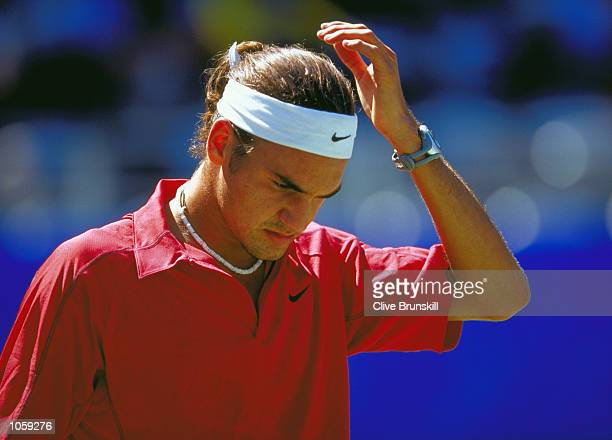 Roger Federer of Switerland during the Mens Tennis Singles Bronze Medal Match at the NSW Tennis Centre on Day 12 of the Sydney 2000 Olympic Games in...
