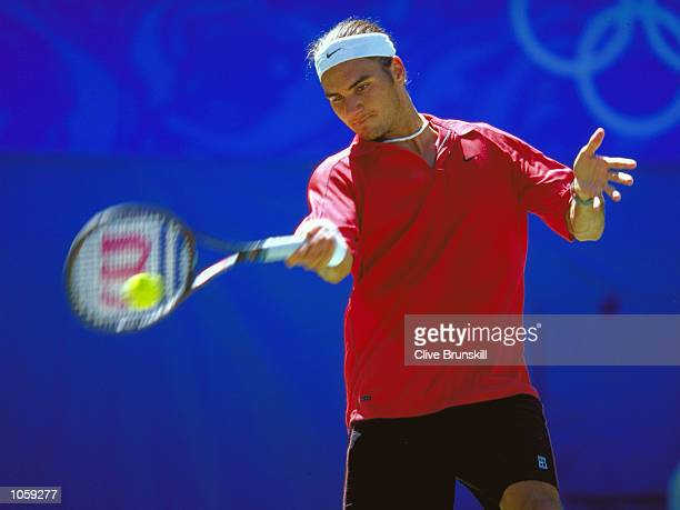 Roger Federer of Switerland in action during the Mens Tennis Singles Bronze Medal Match at the NSW Tennis Centre on Day 12 of the Sydney 2000 Olympic...