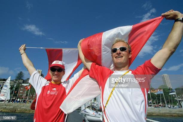 Roman Hagara and Hans Peter Steinacher of Austria win Gold in the Open Tornado Fleet Races at Rushcutters Bay on Day Nine of the Sydney 2000 Olympic...
