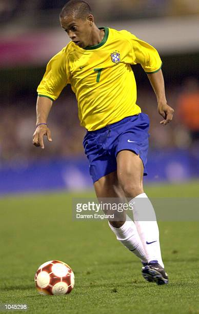 Ronaldinho of Brazil in action against Slovakia during the 2000 Olympic soccer match between Brazil and Slovakia at the Gabba in Brisbane, Australia....