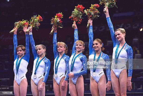 Russia finish second in the Womens Team Gymnastics at the Sydney Superdome on Day Four of the Sydney 2000 Olympic Games in Sydney Australia Mandatory...