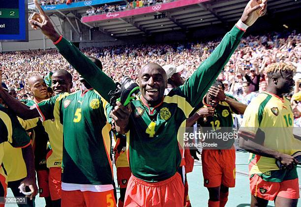 Serge Mimpo of Cameroon celebrates gold after a penalty shootout victory over Spain in the Mens Football Final at the Olympic Stadium on Day 15 of...
