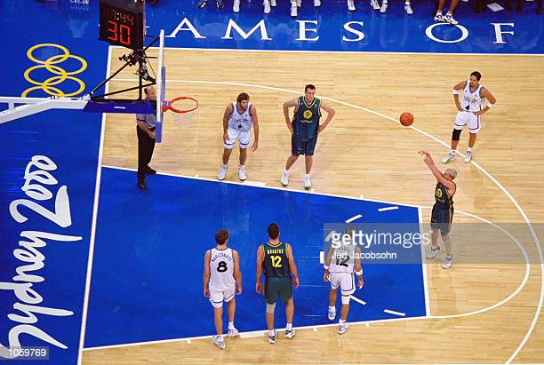 Shane Heal of Australia at the Free Throw line during the Mens Baketball at the Sydney Superdome in the Olympic Park on Day Thirteen of the Sydney...