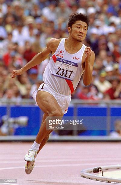 Shingo Suetsugu of Japan in the Mens 200m Heats at the Olympic Stadium on Day Twelve of the Sydney 2000 Olympic Games in Sydney AustraliaWWWWW...