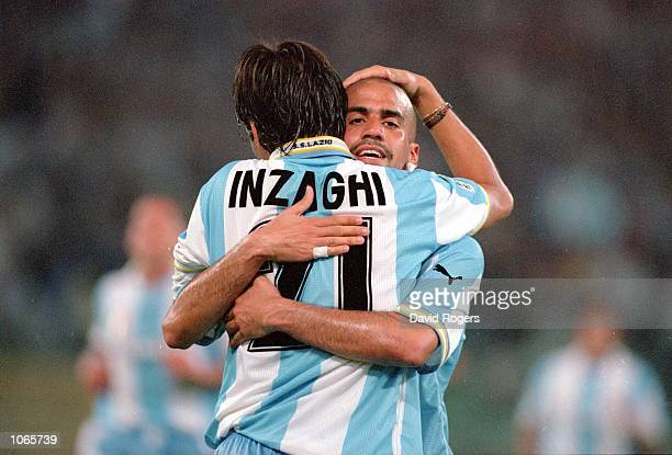 Simone Inzaghi and Juan Veron of Lazio celebrate during the UEFA Champions League match against Sparta Prague at the Stadio Olimpico in Rome Italy...