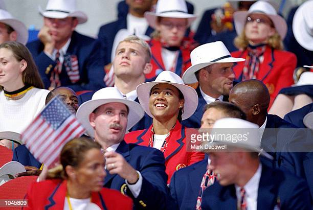 Sprinter Marion Jones of the USA during the Opening Ceremony of the Sydney 2000 Olympic Games at the Olympic Stadium in Homebush Bay Sydney Australia...