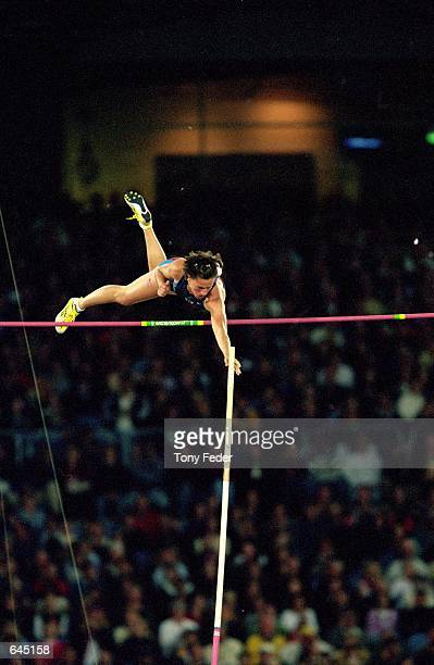 Stacy Draila of the USA leaps over the pole to win first place in Womens Pole Vault Event during the Sydney 2000 Olympic Games at Olympic Stadium in...