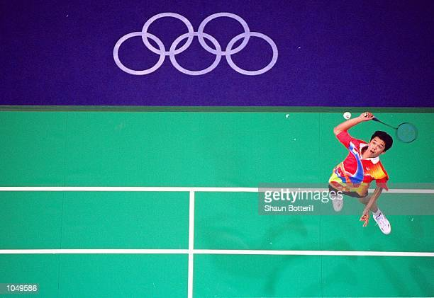 Taufik Hidayat of Indonesia in action in the Men's Badminton Singles Preliminaries at Pavilion 3 in the Olympic Park on Day Three of the Sydney 2000...