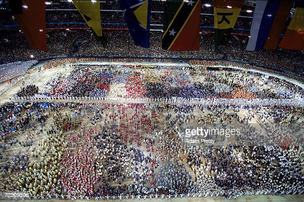 The athletes gather during the athletes parade at the Opening Ceremony of the Sydney 2000 Olympic Games at the Olympic Stadium in Homebush Bay Sydney...