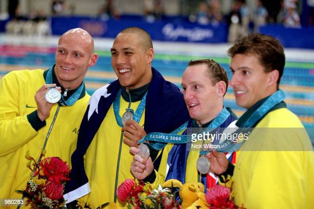 The Australian Men's 4x100m Relay Medley Team celebrate their silver medal during the Men's 4x100m Relay Medley Final held at the Sydney...
