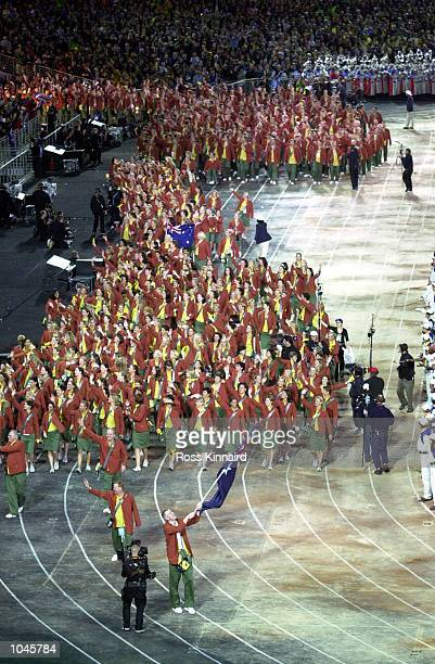 The Australian Olympic team enter the stadium in the Opening Ceremony during the Sydney 2000 Olympic Games at the Olympic Stadium Sydney Olympic Park...