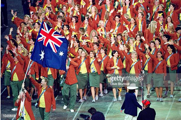 The Australian Olympic Team walk round during the Opening Ceremony of the Sydney 2000 Olympic Games at the Olympic Stadium in Homebush Bay, Sydney,...