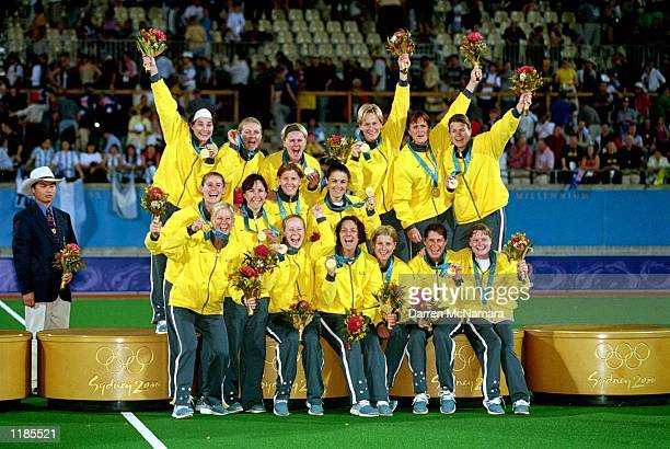 The Australian Women's Hockey team celebrate their gold medal victory during the Women's Hockey Final match played between Australia and Argentina...