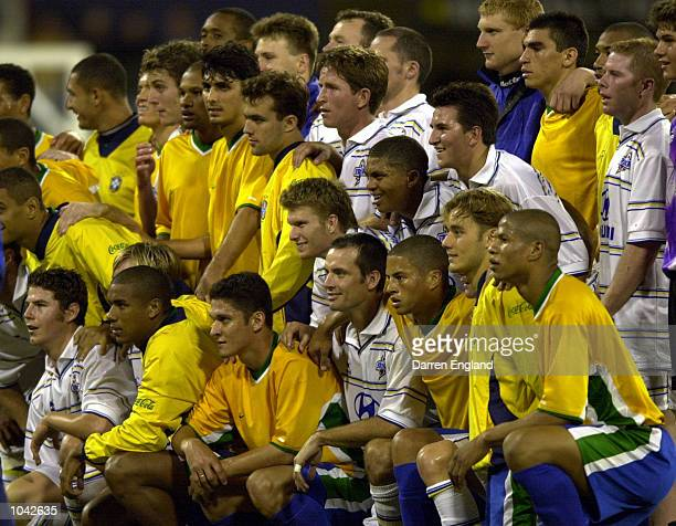 The Brazil and Brisbane Strikers players get together for a team photo after the Pre-Olympics warm up match between Brazil and the Brisbane Strikers...