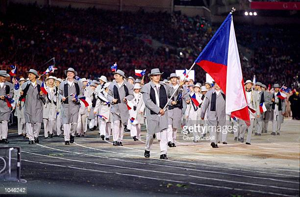 The Czech Republic Olympic Team during the Opening Ceremony of the Sydney 2000 Olympic Games at the Olympic Stadium in Homebush Bay Sydney Australia...