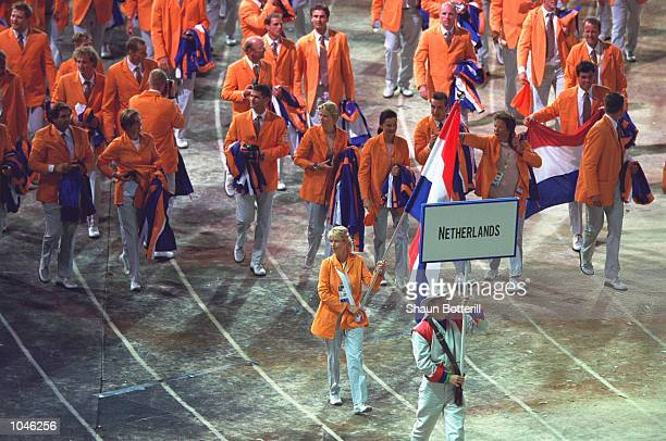 The Dutch Olympic Team during the Opening Ceremony of the Sydney 2000 Olympic Games at the Olympic Stadium in Homebush Bay, Sydney, Australia....