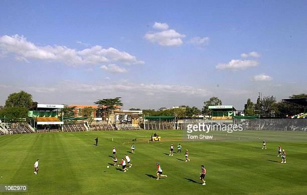 The England players play a game of football prior to the start of the ICC Knockout tournament at the Gymkhana Club Ground Nairobi Kenya Mandatory...