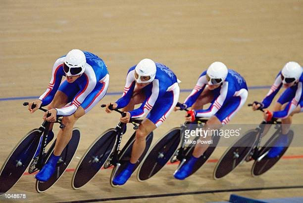 The Great Britain team of Paul Manning Chris Newton Bryan Steel and Bradley Wiggins in action during the Mens Team Pursuit 4000m Qualifying at the...