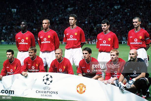 The Manchester United team pose for a team group prior to their UEFA Champions League match against RSC Anderlecht at Old Trafford in Manchester...