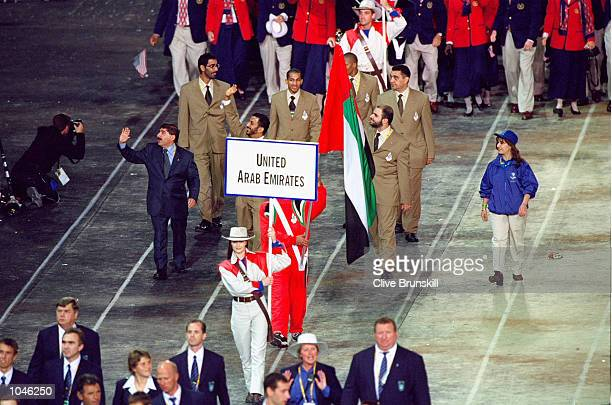 The United Arab Emirates Olympic Team during the Opening Ceremony of the Sydney 2000 Olympic Games at the Olympic Stadium in Homebush Bay Sydney...