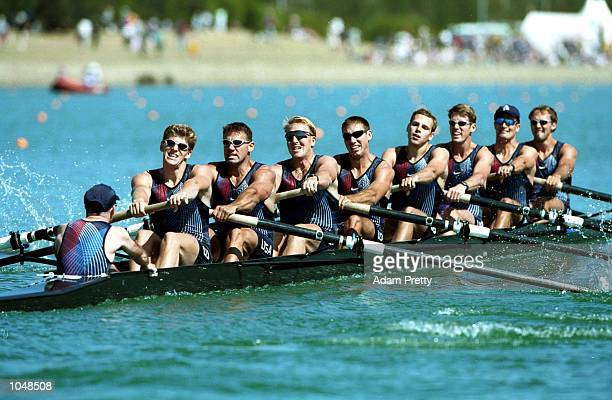 The US team in the mens eight during the Sydney 2000 Olympic Games at the Sydney International Regatta Centre Sydney Australia Mandatory Credit Adam...