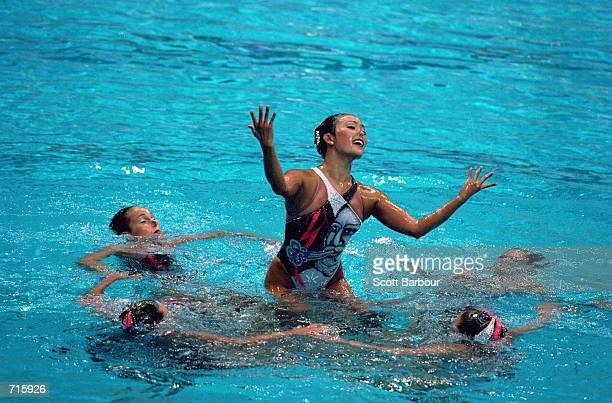 The USA Syncronized Swimming Team perform the free routine during the 2000 Olympics at the Sydney International Aquatic Centre in Sydney...