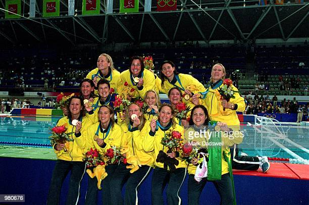 The Women's Australian Water Polo team celebrate their gold medal victory after defeating the USA in the Women's Water Polo final held at the Sydney...