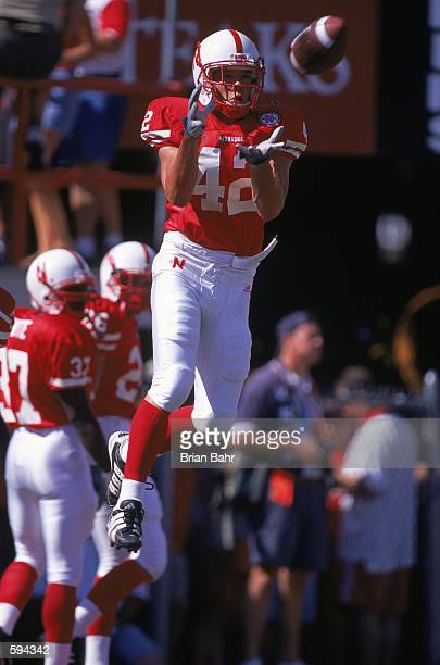 Troy Watchorn of the Nebraska Cornhuskers makes a flying catch during the game against the San Jose State Spartans at the Memorial Stadium in Lincoln...