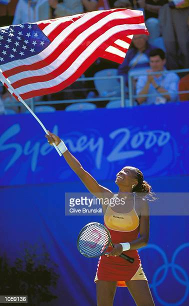Venus Williams of the USA wins Gold in the Womens Singles Final at the NSW Tennis Centre on Day Twelve of the Sydney 2000 Olympic Games in Sydney...