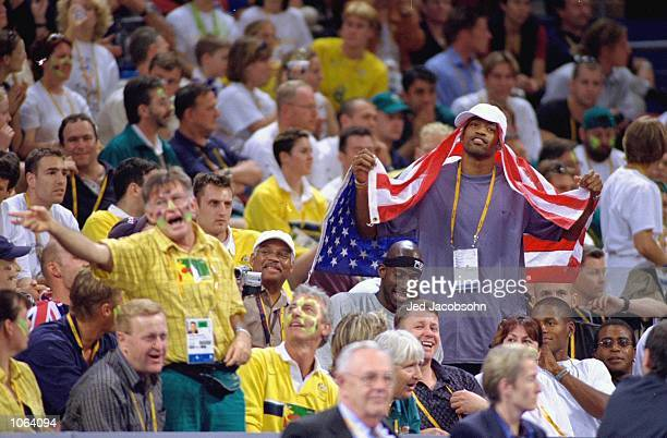 Vince Carter of the USA mens team taunts the crowd during the Womens Basketball Final against Australia at the Sydney SuperDome on Day 15 of the...
