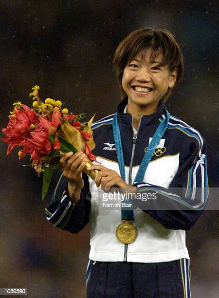 Womens marathon gold medalist Naoko Takahashi of Japan during the Sydney 2000 Olympic Games at Olympic Stadium Sydney Olympic Park Sydney Australia...