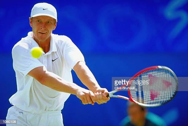 Yevgeny Kafelnikov of Russia in action in the Mens Tennis Final at the NSW Tennis Centre on Day 13 of the Sydney 2000 Olympic Games in Sydney...