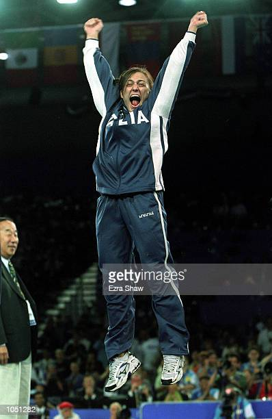 Ylenia Scapin of Italy celebrates winning the bronze medal in the womens 70 kilogram Judo event at the Sydney Convention and Exhibition Centre in...