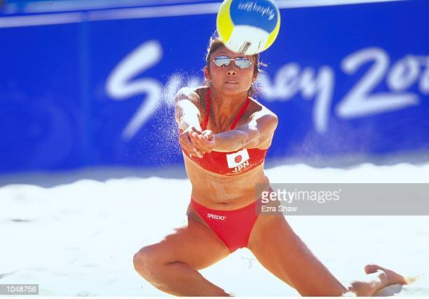 Yukiko Ishizaka of Japan in action during the Womens Beach Volleyball from Bondi Beach during Day Three of the Sydney 2000 Olympic Games in Sydney...