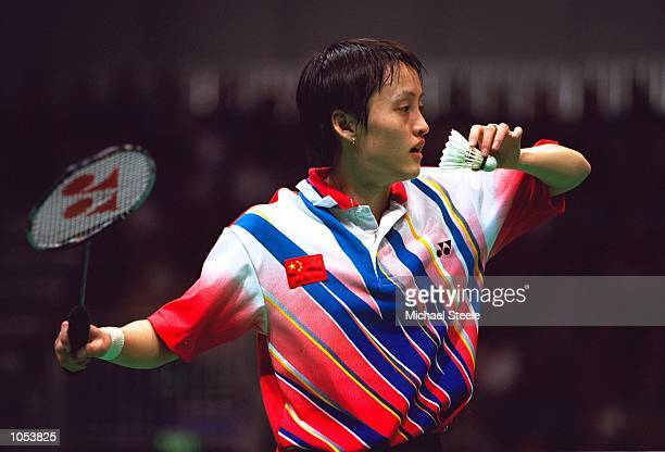 Zhichao Gong of China in the Womens Singles Badminton Final at Pavilion 3 in the Olympic Park on Day Seven of the Sydney 2000 Olympic Games in Sydney...