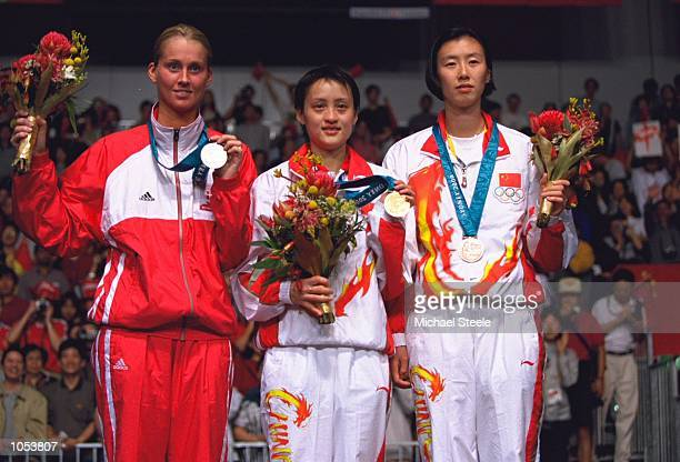 Zhichao Gong of China wins Gold Camilla Martin of Denmark Wins Silver and Zhaoying Ye of China wins Bronze in the Womens Singles Badminton Finals at...