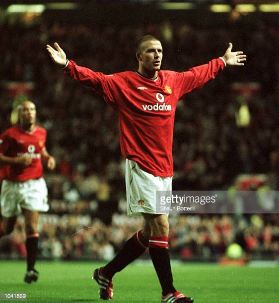 David Beckham of United celebrates scoring during the match between Manchester United and Bradford City in the FA Carling Premiership at Old Trafford...