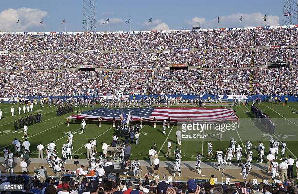A general view of Foxboro Stadium during a pregame ceremony honoring those fallen in the World Trade Center tragedy prior to the game between the New...