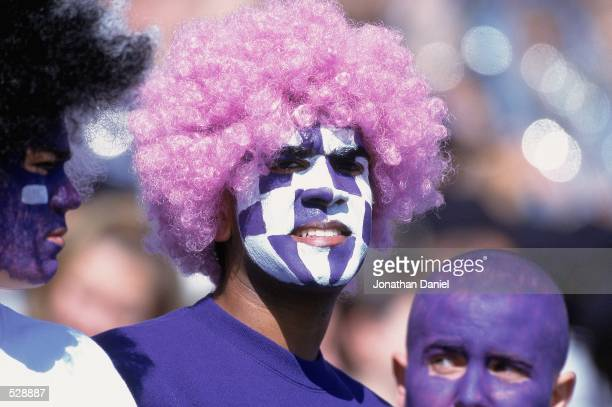 General view of some fans of the Northwestern Wildcats during the game against the Michigan State Spartans at Ryan Field in Evanston, Illinois. The...