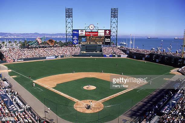 General view of the field as Barry Bonds of the San Francisco Giants hits his 69th home run during the game against the San Diego Padres at Pac Bell...