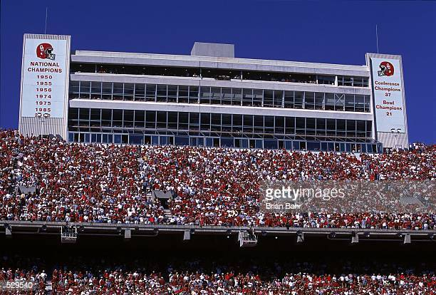 General view of the stands during the game between the Kansas State Wildcats and the Oklahoma Sooners at the Owen Field Oklahoma Memorial Stadium in...